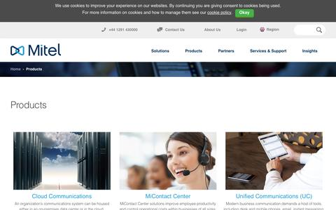 Screenshot of Products Page mitel.co.uk - Products | Mitel - United Kingdom (EN) - captured March 13, 2016