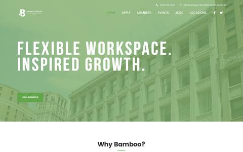 Screenshot of Home Page bamboodetroit.com - Bamboo Detroit | Bamboo Detroit Office Space & Detroit Coworking space - captured May 31, 2017