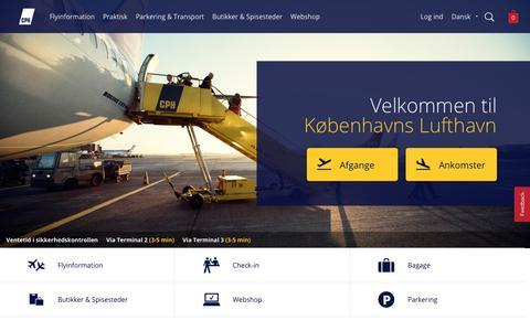 Screenshot of Home Page cph.dk - Københavns Lufthavn - captured Sept. 25, 2018