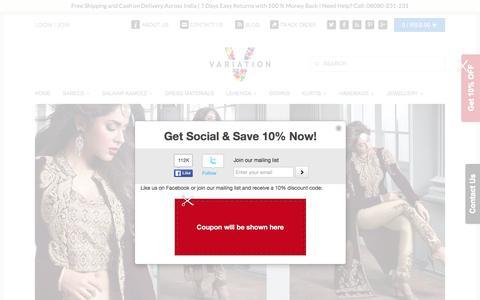 Screenshot of Home Page variation.in - Variation : Online Shopping India | Buy Designer Sarees & Salwar Suits - captured Feb. 19, 2016