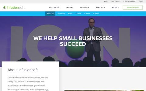 Screenshot of About Page infusionsoft.com - We Help Small Businesses Succeed | About Infusionsoft - captured April 20, 2016