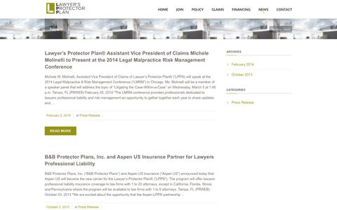 Screenshot of Press Page lppinsurance.com - Lawyer's Protector Plan   – News - captured Oct. 2, 2014