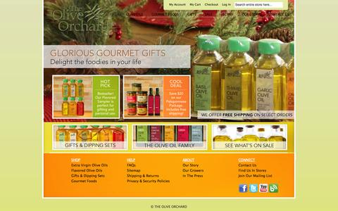 Screenshot of Home Page theoliveorchard.com - Buy Extra Virgin Olive Oil | Flavored Olive Oil | The Olive Orchard - captured Oct. 9, 2014