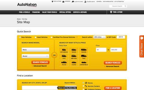 Screenshot of Site Map Page autonation.com - Sitemap | AutoNation | America's Largest Auto Retailer - captured March 29, 2016