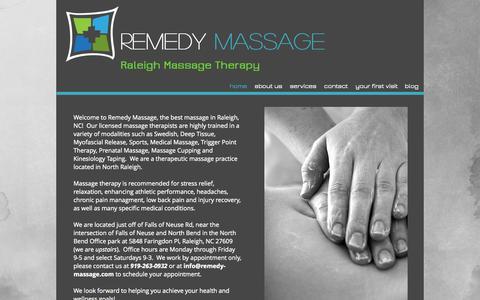 Screenshot of Home Page remedy-massage.com - Remedy Massage in Raleigh, NC. Best Raleigh Massage! - captured Sept. 30, 2014