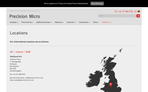 Screenshot of Contact Page Locations Page precisionmicro.com - Contact Us - Precision Micro - captured July 21, 2018