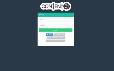 Screenshot of Login Page contentdj.com - Social Media Editorial Calendar with Content Recommendations | ContentDJ - captured May 9, 2017