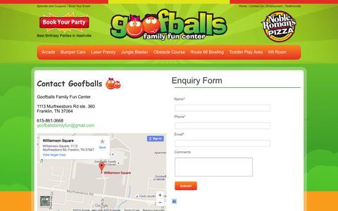 Screenshot of Contact Page letsgetgoofy.com - Contact Goofballs Family Fun Center - captured Feb. 4, 2016