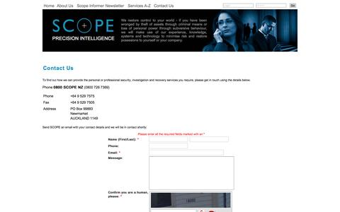 Screenshot of Contact Page scope.co.nz - Contact Us | SCOPE Investigations NZ - captured Feb. 4, 2016