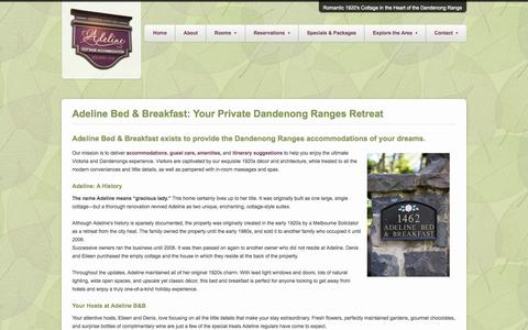 Screenshot of About Page adeline.com.au - Your Private Dandenong Ranges Retreat, Adeline Bed & Breakfast - captured Oct. 4, 2014