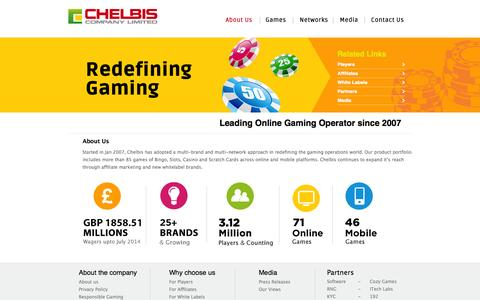 Screenshot of About Page chelbis.com - Chelbis Company Limited - Leading online gaming operator since 2007 - captured Oct. 2, 2014