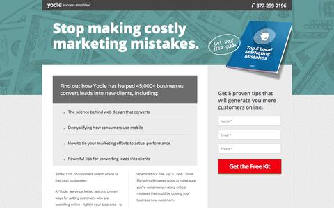 Screenshot of Landing Page yodle.com - Stop Making Costly Marketing Mistakes | Yodle - captured Oct. 27, 2014