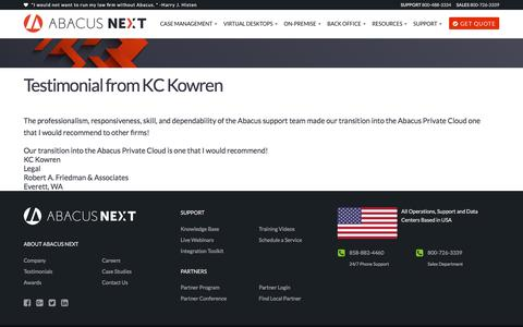 Screenshot of Developers Page abacusnext.com - Testimonial from KC Kowren | Abacus Next - captured Nov. 17, 2016