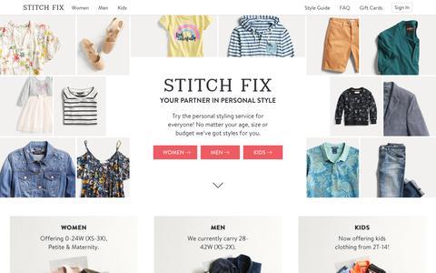 Screenshot of Home Page stitchfix.com - Fashion Stylist | Clothes Boxes | Stitch Fix - captured July 12, 2018