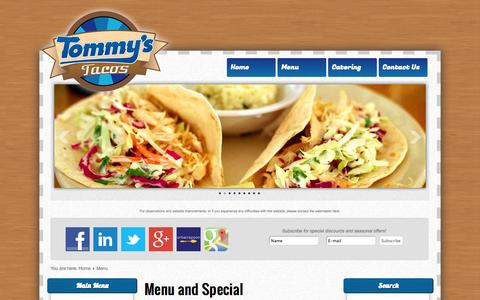 Screenshot of Menu Page tommystacos.com - Tommy's Tacos - Menu - captured Sept. 30, 2014