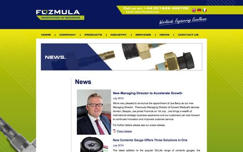Screenshot of Press Page fozmula.com - News | Fozmula - the liquid level specialists - captured Oct. 1, 2014