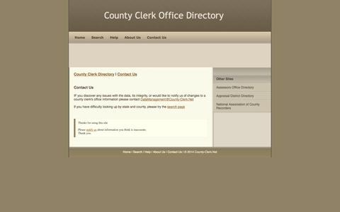 Screenshot of Contact Page county-clerk.net - Contact County-Clerk.Net - captured Nov. 5, 2014
