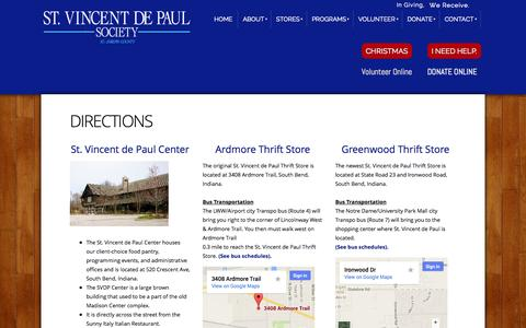 Screenshot of Maps & Directions Page svdpsb.org - St. Vincent de Paul Society of St. Joseph County - directions - captured Oct. 6, 2014
