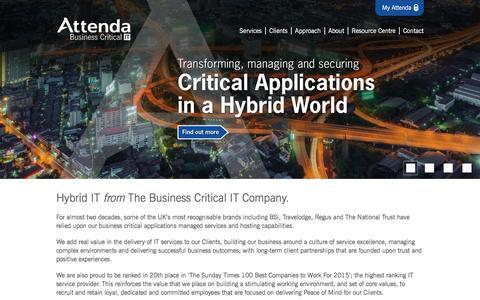Screenshot of Home Page attenda.com - Business Critical IT - Attenda - captured Dec. 27, 2015