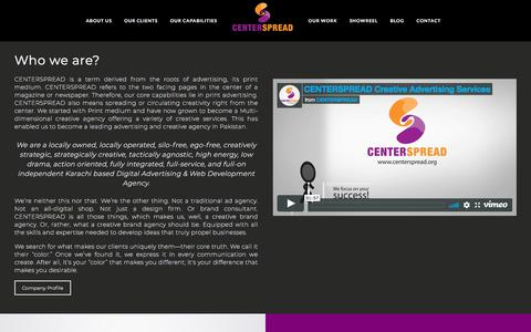 Screenshot of About Page centerspread.org - Pakistan's leading Creative Brand Agency - captured Feb. 14, 2018