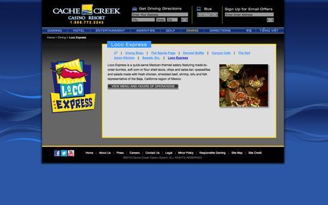Screenshot of cachecreek.com - Cache Creek - Dining - Loco Express - captured March 20, 2016