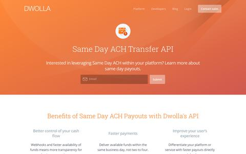 Screenshot of dwolla.com - Same Day ACH with Dwolla - captured Dec. 30, 2017