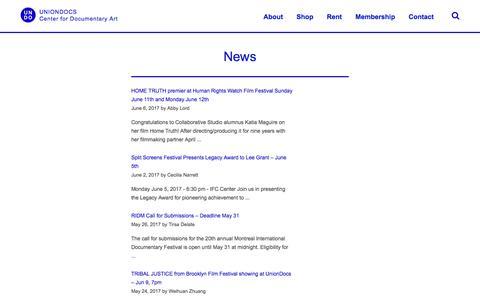 Screenshot of Press Page uniondocs.org - News Archives — UnionDocs - captured June 11, 2017