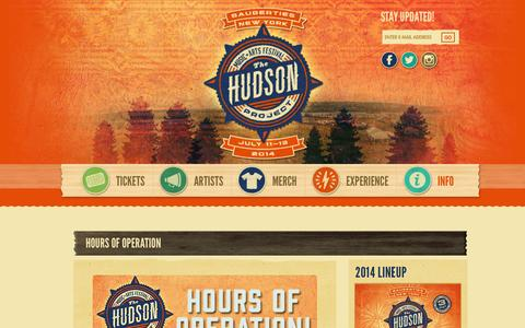 Screenshot of Hours Page hudsonmusicproject.com - Hours of Operation - The Hudson Project - captured Nov. 4, 2014