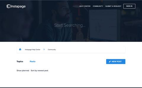 Screenshot of Support Page instapage.com - Posts – Instapage Help Center - captured Nov. 9, 2018
