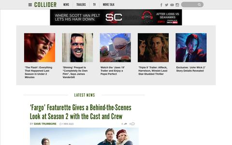 Screenshot of Home Page collider.com - Collider: Movie News, Movie Trailers, Movie Reviews, TV News - captured Oct. 5, 2015