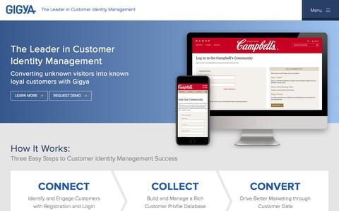 Screenshot of Home Page gigya.com - Identity and Access Management, Digital Customer Experience - captured April 10, 2017