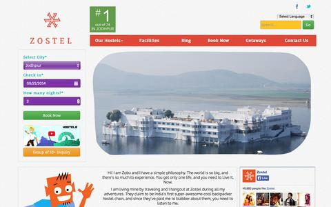 Screenshot of Home Page zostel.com - Zostel: Live it. Now: India's first branded Hostel chain - captured Sept. 17, 2014