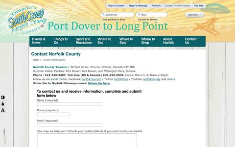 Screenshot of Contact Page norfolktourism.ca - Contact Us - Norfolk County Tourism - Ontario, Canada Norfolk County Tourism - captured Oct. 26, 2014