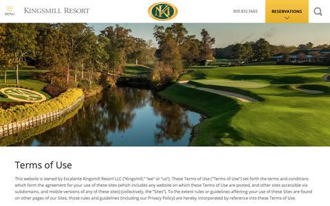 Screenshot of Terms Page kingsmill.com - Terms of Use | Kingsmill Resort, Williamsburg VA - captured Oct. 11, 2018