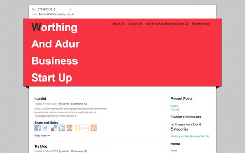 Screenshot of Home Page wabizstartup.co.uk - huasiuj | Worthing And Adur Business Start Up - captured Oct. 7, 2014