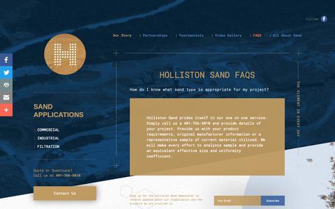 Screenshot of FAQ Page hollistonsand.com - FAQ: Holliston Sand - captured Nov. 5, 2018