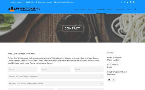 Screenshot of Contact Page perfectchef4u.com - Contact-us - - captured Jan. 27, 2016