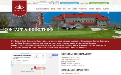 Screenshot of Contact Page steugene.ca - Contact and Directions   St. Eugene - captured Oct. 18, 2018