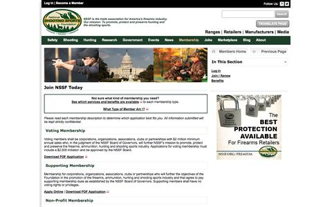 Screenshot of Signup Page nssf.org - Join NSSF | Membership - captured Sept. 25, 2014