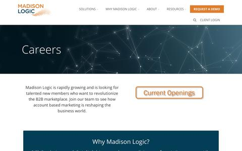 Screenshot of Jobs Page madisonlogic.com - Careers - Account-Based Marketing from Madison Logic - captured March 24, 2018