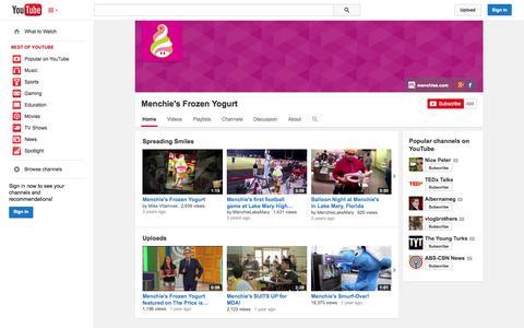 Screenshot of YouTube Page youtube.com - Menchie's Frozen Yogurt  - YouTube - captured Oct. 27, 2014