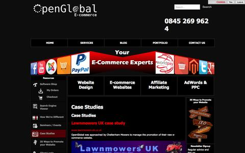 Screenshot of Case Studies Page openglobal.co.uk - Case Studies - OpenGlobal E-commerce - captured Aug. 10, 2015