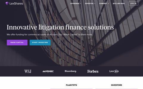 Screenshot of Home Page lexshares.com - LexShares   Commercial Litigation Finance - captured June 9, 2018