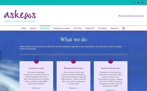 Screenshot of Services Page askews.co - Our Services | Askews Chartered Accountants - captured Oct. 4, 2018