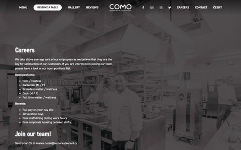 Screenshot of Jobs Page comorestaurant.cz - Careers – COMO Restaurant - captured April 22, 2017