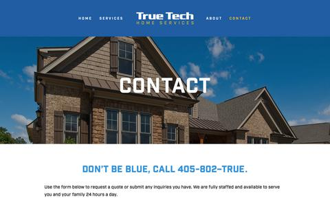 Screenshot of Contact Page truetechhomeservice.com - Contact — True Tech Home Services - captured Oct. 20, 2018