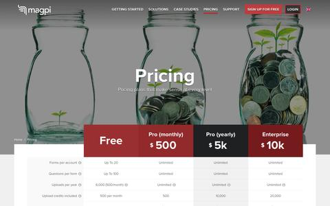 Screenshot of Pricing Page magpi.com - Pricing - Magpi - captured May 20, 2016