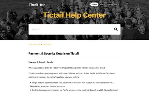 Payment & Security Details on Tictail  – Tictail Help Center