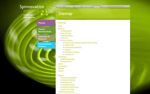 Screenshot of Site Map Page spinnovation-analytical.com - Sitemap - captured Oct. 7, 2014