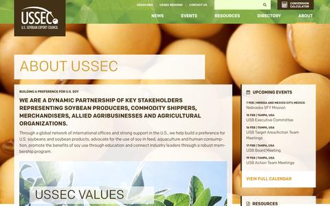 Screenshot of About Page ussec.org - U.S. Soybean Export Council  About USSEC - captured Feb. 3, 2016